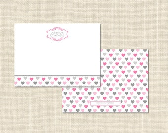 Child's Stationery, Heart Personalized Notecards, Digital File or Professional Printing Available
