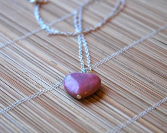 Lovely Pink Rhodonite Heart Pendant on Sterling Silver Chain