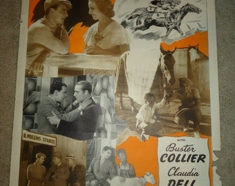 Original 1940's Adventura Hipica One Sheet Movie Poster Spanish Buster Collier, Claudia Dell, James Hall, Adventures