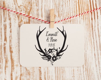 Custom Wedding Stamp, Antlers and Floral Wedding Stamp, Wedding Rubber Stamp, Wedding Decor Stamp, Style No. 51W