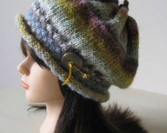 Instant Download Knit Hat Knitting Pattern 'Victoria', Slouch Style Hat, Noro Silk Garden Yarn