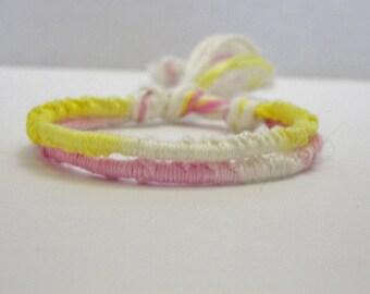 Adjustable Pink & Yellow Ombre Friendship Bracelet