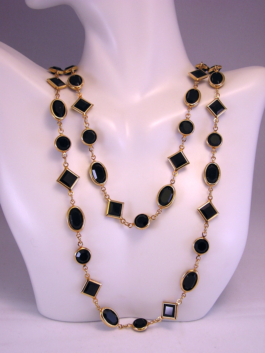 layered necklace long necklace black necklace glass bead. Black Bedroom Furniture Sets. Home Design Ideas