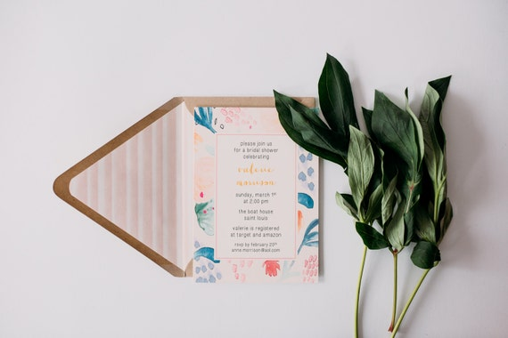 bridal shower invitation  - watercolor floral - customizable (sets of 10)  //  lola louie paperie
