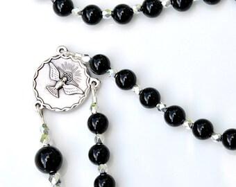Confirmation Gift for Boys - Personalized Name Rosary - Black Onyx Beads - Holy Spirit Crucifix - Catholic Gift - Boys Men RCIA
