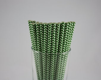 """25 - Forest Green and White Chevron Paper Straws - 7.75"""" - green and white - white and green - baby shower  - birthday party - forest"""