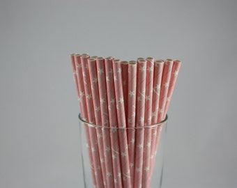 "25 - Light Pink and White Stars Straws - 7.75"" - baby pink - baby shower - birthday party - straws with stars - light pink - baby girl"