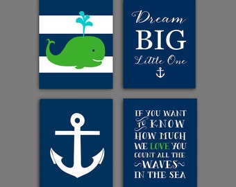 Nautical Nursery Wall Decor navy green nursery | etsy