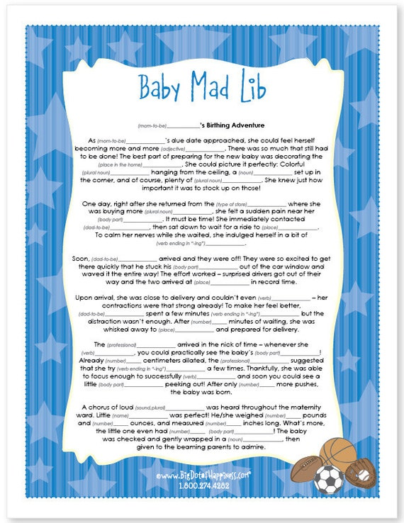 all star sports baby shower mad lib game instant download