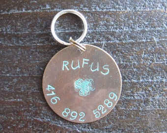 Pet ID Tag - Dog Tag - Cat Tag - Bridle Tag - Hand Stamped Natural Brass