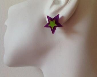 Star Earrings - Purple & Lime Green Acrylic Earrings with Sterling Silver Posts. Laser cut perspex, plexiglass.