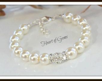 Rhinestone and Ivory Pearl Bracelet