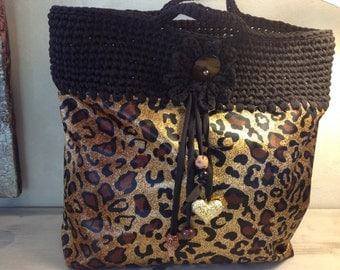 Bag Tote from beach and Shopping in black Trapilho and Panther