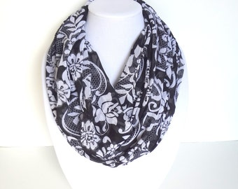 Black & White Lightweight Scarf, Floral Infinity Scarf, Bridesmaid Gift, Honeycomb Print Scarf, Fall