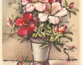 Vintage French flowers postcard.  Flowers post card  with strasses sticked.