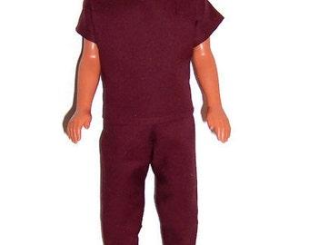 His Fashion Doll Clothes-Burgundy Scrub Set