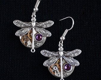 Steampunk earrings Dragonflies antique watch movements Swarovski crystals dragonfly earrings