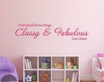 Coco Chanel Classy & Fabulous Quote Vinyl Wall Decal Sticker