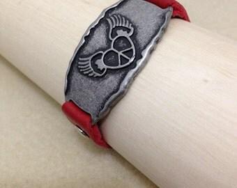 Winged Heart Leather Bracelet