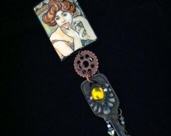 Art Nouveau meets Steampunk Vintage Treasures Charm Necklace