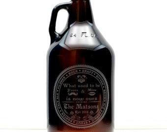 Wedding Gift  Home Brew Wedding Growler with beer type circled around newly joined couples name. Homebrew gift,  wedding gift