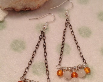 Sterling Silver Earrings, Amber and Moonstone Chandelier Earrings, Handmade Gemstone Earrings