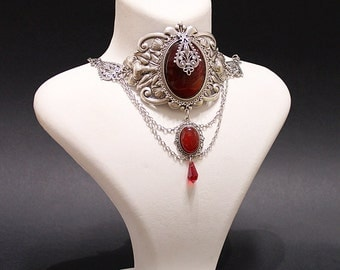 Royal Vampire Gothic necklace - silver plated Gothic choker with red agate and blood red Swarovski crystals - Victorian Gothic Jewelry
