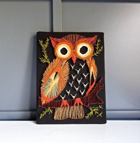 Vintage Owl String Art Wall Hanging