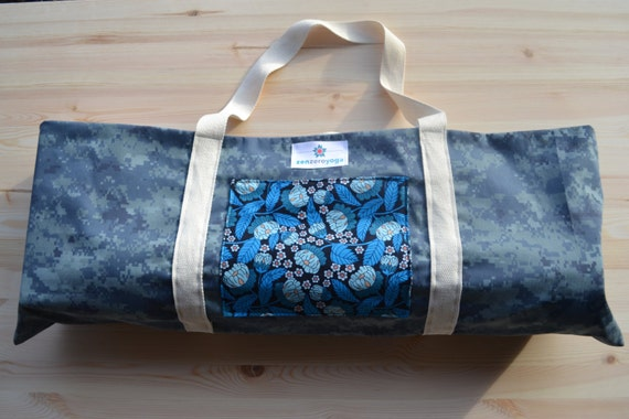 Yoga Mat Bag Muted Navy Camo With Blue Flowers By Zenzeroyoga