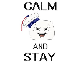 Marshmallow Man Inspired Keep Calm Cross Stitch PATTERN