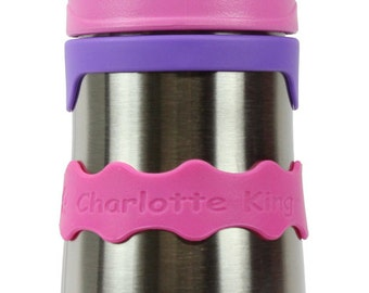 Personalized Orbit Labels for baby bottles and sippy cups by InchBug  (Flamingo Pink 2-PACK)
