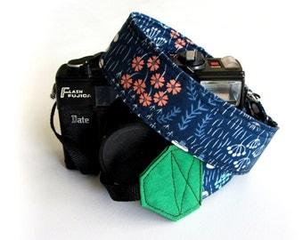 Pretty camera strap, Floral camera strap, organic cotton gift for photographer dark blue strap