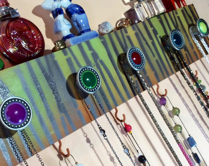 Made to order -recycled pallet wood Necklace display hanger /reclaimed jewelry holder wall storage stenciled birchwood 4 hooks, 5 knobs