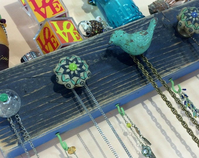 Made to order -Necklace hanger /wall rack /jewelry hanging storage holder /reclaimed wood wall decor boho chic bird 4 mint hooks 5 knobs