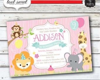 Printable Zoo Birthday Invitation - Monkey see, Monkey do Party Invite