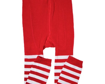Red and White Striped Footless Tights/ Leggings for toddler girls