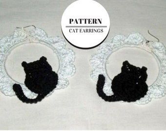 Crochet pattern earrings, Pattern, instant download, cat, earrings, crochet, black, white, cotton, pdf
