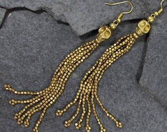 FREE SHIPPING skull tassel earring,long beaded boho brass earring