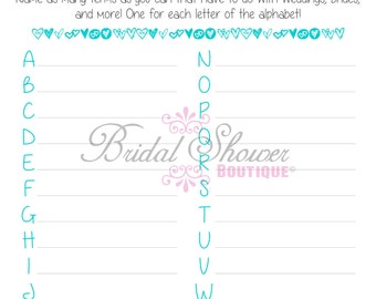 A-Z Everything Weddings Alphabet Bridal Shower Game TURQUOISE -Fun, Detailed, & Cute!
