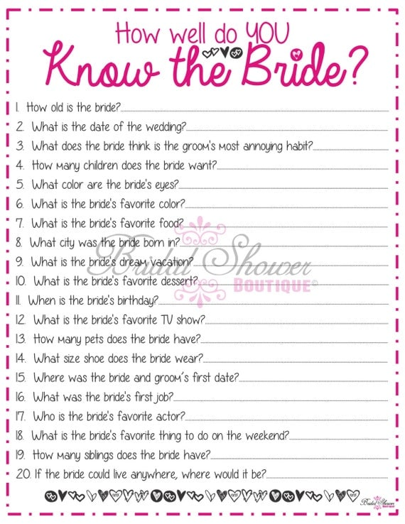How Well Do You Know The Bride: How Well Do You Know The Bride Bridal Shower Game PINK Fun