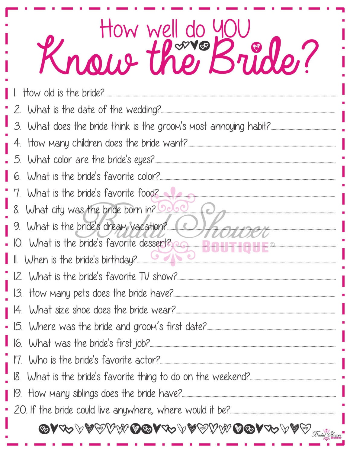 Dramatic image for free printable bridal shower games how well do you know the bride