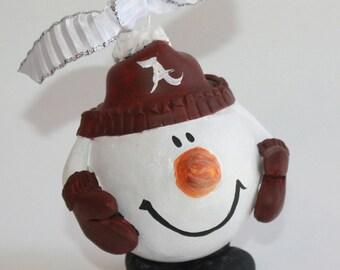 Alabama Snow Man | Alabama Christmas ornament | teacher gift | Christmas ornament | Snowball Ornament