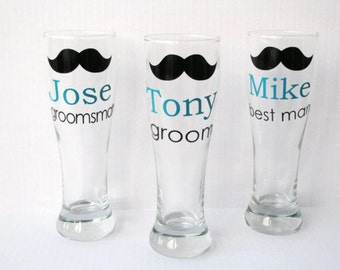 2 Personalized Groomsmen Beer Mugs, Groomsmen Pilsner Mugs, Groomsmen Gift, Best Man Gift