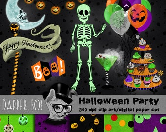Halloween Costume Party Night Digital Clip Art Elements for Scrap-booking and Paper Craft