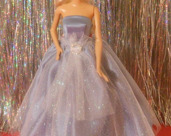 Evening gown with gathered full length skirt, shoes & shawl.
