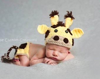 Crochet Newborn Baby Giraffe Photo Prop Outfit!- Boy or Girl outfit- 3 Week Lead Time
