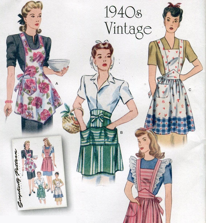 Simplicity 1221 Retro Reprint 1940s Vintage Apron Pattern