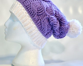Ready to ship cable crochet slouch hat with pompom