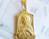 Medal - Blessed Mother - 18K Gold Vermeil - 18x25mm