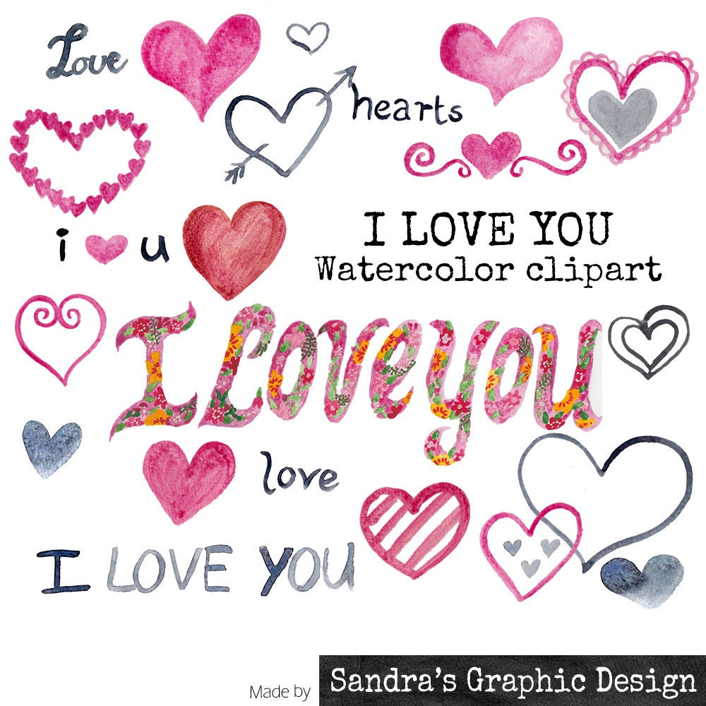 "Clip art: ""I LOVE YOU"" hand painted in various colors, 22 clipart ..."